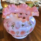 Fenton Glass Rose Bowl Vase Cranberry Opalescent hand painted