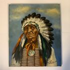 Magnificent Vintage Oil Painting of Native American Indian Chief Dated 1904