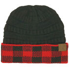 CC Cuffed Winter Fall Trendy Chunky Stretchy Cable Knit Beanie Hat Plaid Red