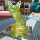 BEAUTIFUL FENTON VASELINE TOPAZ FOX FIGURINE