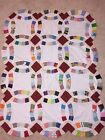 Maroon Centered Double Wedding Ring Baby or Lap Quilt TOP 39 x 50 Handsewn