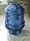 Vintage Blue Indiana Glass Homco Stars and Bars Glass Fairy Light Lamp Tea Light