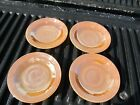 4 Fire-King Peach Luster Saucers 5 3/4 wide Marked Bottoms Real Nice