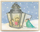 New House Mouse WARM RECEPTION Wood Rubber Stamp Mice Lantern Christmas Snow