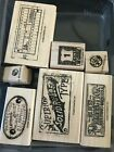 Stampin Up AGED TO PERFECTION Retired Rubber Stamp Set of 7 Vintage Collage