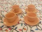 Vintage Set of Four Apricot Fiestaware Tea Cup and Saucers Excellent Condition