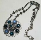 Pre owned Lucky Brand Boho Statement Silver Tone Cabochon Flower Necklace