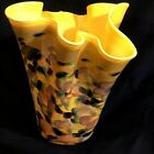 Art Glass Vase Gold With Multicolored Exterior Hand Blown Hankerchief Top 7 3 4