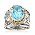 500 Carat Blue Topaz Openwork Ring in Sterling Silver and 14kt Yellow Gold