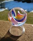PINK with RAINBOW Swirl Geoffrey BEETEM Studio Art Glass MARBLE