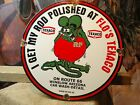 AUTHENTIC VINTAGE 1963 HOT ROD PORCELAIN ENAMEL SIGN RAT FINK TEXACO ROUTE 66