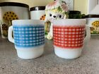 Set of (2) Anchor Hocking Fire King Gingham Milk Glass D Handle Stackable Mugs