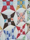 261 LOVELY Vintage Quilt 9 NINE PATCH IMPROVED Hand Stitched 30s 40s