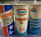 Vintage Snowmobile Oil Texaco Castrol Amoco Oil Cans Full And Unopened