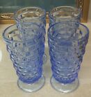 4 Vintage Ice Blue Indiana Glass Whitehall Tea Water Footed Glasses Cube Design