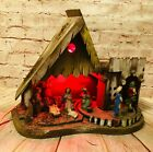 Vintage ITALIAN NATIVITY SET Christmas Manger Lighted Made In ITALY stable wood