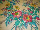 Vintage Wild Roses Clover Daisy Meadow Floral Cotton Fabric Pink Turquoise