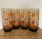 Set of 4 Vintage Libbey Amber Floral Drinking Glasses/Tumblers. 20 Oz. Retro!!!