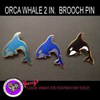 First Nation Orca Whale Pin Black Dark Blue Blue Green Roccoco Signed