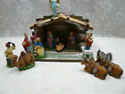 Vtg 17 Pc Paper Mache Nativity Creche Manger Wood Stable Italy Set Italian Lot