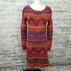 POLO Ralph Lauren Womens S Red Beacon Knit Southwest Native Sweater Dress