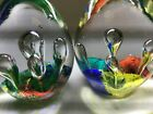VINTAGE LOT OF 2 ART GLASS SWIRL RAINBOW COLORS PAPERWEIGHTS EGG SHAPE