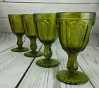 Set of 4 Red Cliff Avocado Green GRAPE Water Goblets