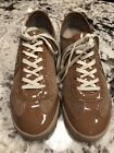 Tory Burch Sz 9 Tan Suede  Patent Leather Sneakers