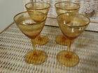 Antique Vintage Amber Cocktail Glasses Gold Trim (4)