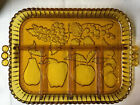 Indiana Amber Glass Divided Fruit Embossed Party Relish Serving Tray Dish Vtg