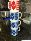 Termocrisa Vtg 3 Blue and One Red Tulip / Plaid Gingham Retro Mugs