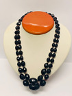 Vintage Cherry Amber Double Strand Facet Bakelite Necklace w Sterling Clasp
