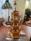 German Christmas Pyramid Tower Nativity 4 Tier Wood Carousel Hand Painted Vtg