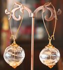 Vintage Hand Blown Clear Hollow Glass Earrings Gold or Silver