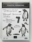 Retired STAMPIN UP PLAYFUL PENGUINS Cling stamps Christmas Animals Friend