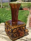 Large Unique Vintage Mid Century Amber Glass with Metal Vase 14 tall x 7 base