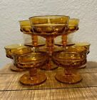 SET OF 8 VINTAGE INDIANA GLASS KINGS CROWN THUMBPRINT AMBER FOOTED SHERBET CUPS