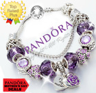 Authentic Pandora Bracelet Silver Purple Heart MOM Flower with European Charms