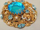 Antique Nouveau Aqua Blue Glass Pearl Rhinestone Filigree Brooch Enamel Detail