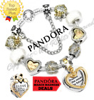 Authentic Pandora Charm Bracelet Silver Gold DREAMS with European Charms NEW