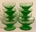 Vintage Open Salt Green Depression Glass Footed Ribbed Set 8 Dipping Sauce Dish