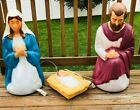 Vintage Jesus Mary Joseph Nativity Set Blow Mold Christmas Decor Light Up