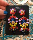 JCrew EMBROIDERED FLORAL LEATHER BACKED EARRINGS New65 Multi Color With Bag