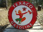 VINTAGE 1952 TEXACO GASOLINE PORCELAIN ENAMEL OIL GAS FUEL PUMP SIGN CHEERLEADER