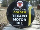 VINTAGE 1948 TEXACO GOLDEN MOTOR OIL PORCELAIN OIL GAS FUEL PUMP SIGN