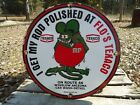 VINTAGE 1963 HOT ROD PORCELAIN ENAMEL SIGN RAT FINK TEXACO ROUTE 66