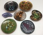 7 Vintage Small Signed Enamel On Copper Hand Made Dishes 2 Signed