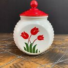 Vintage 40s Anchor Hocking Vitrock Grease Jar with Lid  Painted Tulips