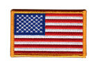 AMERICAN FLAG EMBROIDERED PATCH iron on GOLD BORDER USA US United States 3x2