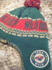 youth iowa wild hockey beanie stocking cap with braids logo patch ball on top